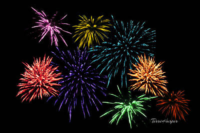 July Fireworks Montage Poster by Terri Harper