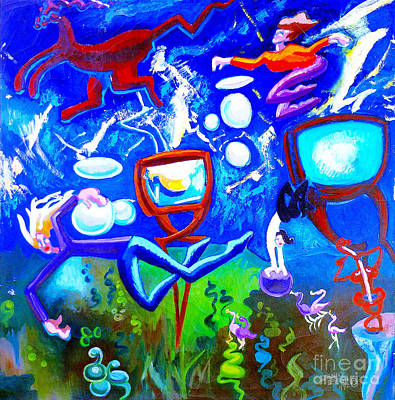 Poster featuring the painting Jumping Through Tv Land by Genevieve Esson