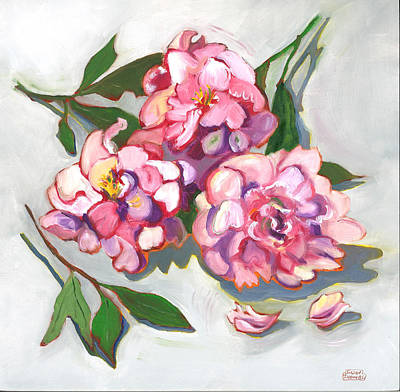 Poster featuring the painting June Peonies by Susan Thomas
