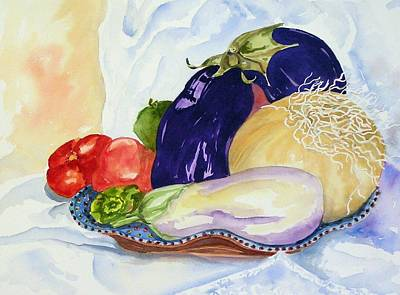 Poster featuring the painting June's Veggies by Pat Crowther