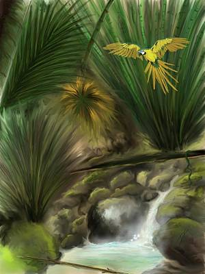 Poster featuring the digital art Jungle Parrot by Darren Cannell