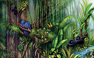 Poster featuring the painting Jungle Talk by Lynn Buettner