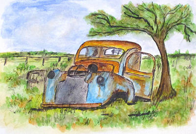 Junk Car And Tree Poster by Clyde J Kell