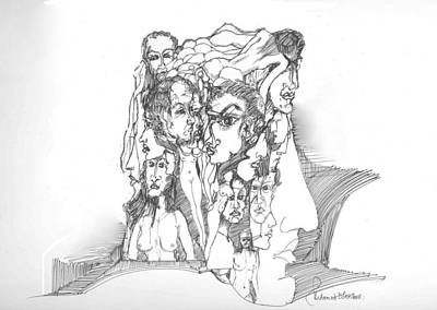Poster featuring the drawing Junk In The Head by Padamvir Singh