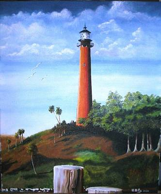 Jupiter Lighthouse And Pilings Poster