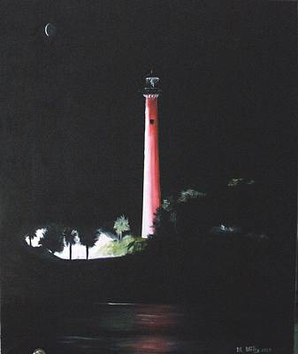 Jupiter Lighthouse At Night Poster