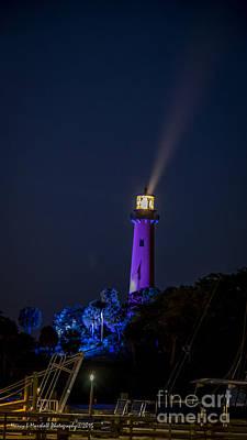 Jupiter Lighthouse At Night Poster by Nancy L Marshall