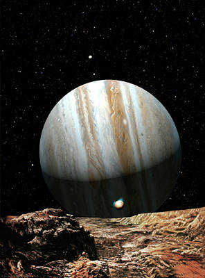 Jupiter Seen From Europa Poster by Don Dixon