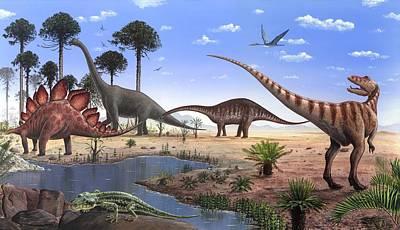 Jurassic Dinosaurs, Artwork Poster by Richard Bizley