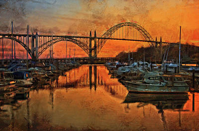 Just After Sunset On Yaquina Bay Poster