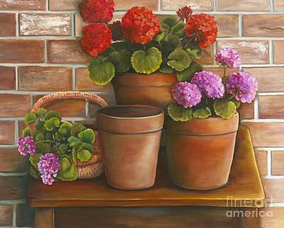 Poster featuring the painting Just Geraniums by Marlene Book