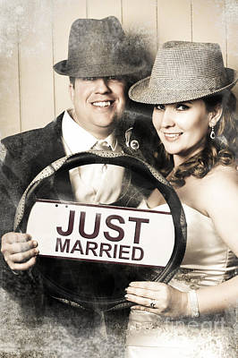 Just Married Bride And Groom Driving To Honeymoon Poster