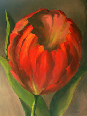 Poster featuring the painting Just One Red Tulip by Vikki Bouffard