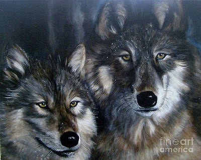 Just Us Two - Pair Of Snow Wolves Poster by Julie Bond