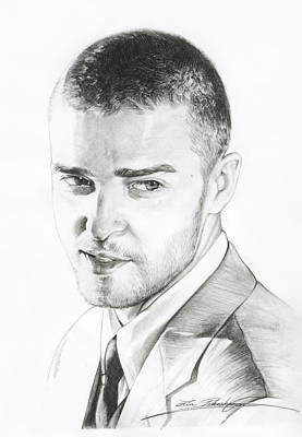 Justin Timberlake Drawing Poster by Lin Petershagen