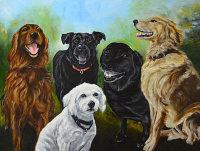 K-9 Group Dog Portrait Painting Poster