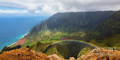 Kalalau Valley Kauai Hawaii With Rainbow Poster by Lace Andersen