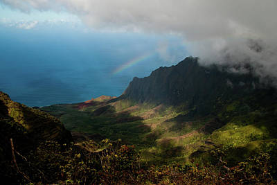 Kalalau Valley Rainbow Poster by Roger Mullenhour