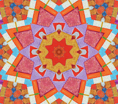 Kaleidoscope Painted Wood Poster by Bright Designs