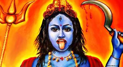 Kali  -hindu Goddess Poster by Carmen Cordova