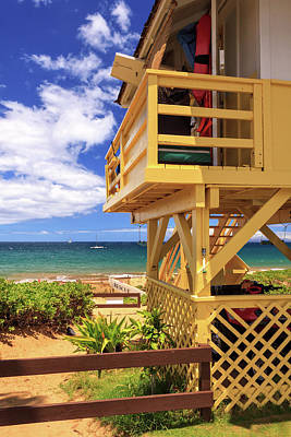 Poster featuring the photograph Kamaole Beach Lifeguard Tower by James Eddy