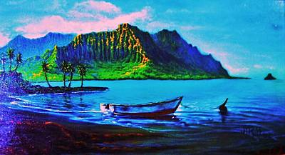 Kaneohe Bay Afternoon -with Skiff Poster