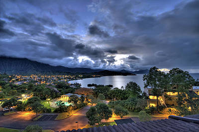 Kaneohe Bay Night Hdr Poster