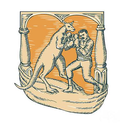 Kangaroo Boxing Man Etching Poster by Aloysius Patrimonio