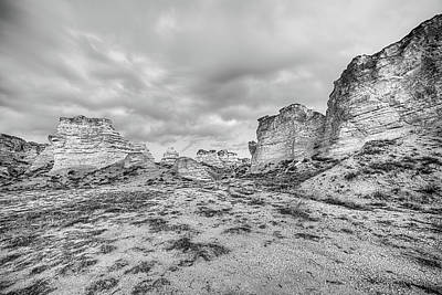 Poster featuring the photograph Kansas Badlands Black And White by JC Findley