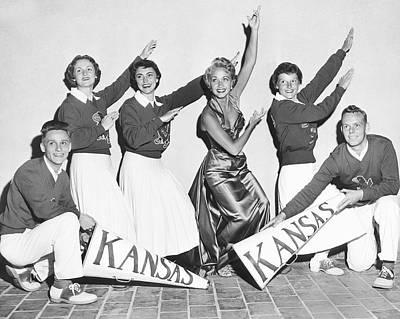 Kansas Cheerleader Squad Poster by Irving L. Antler