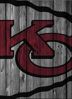 Kansas City Chiefs Wood Fence Poster by Joe Hamilton