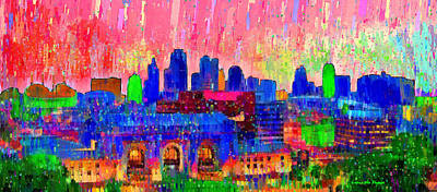 Kansas City Skyline 206 - Pa Poster