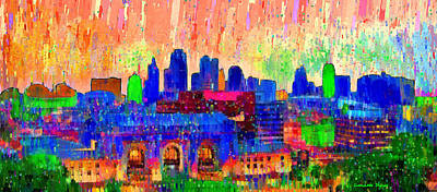 Kansas City Skyline 207 - Da Poster by Leonardo Digenio