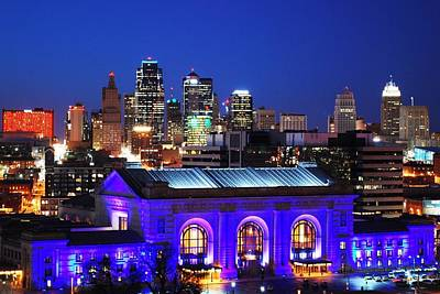 Kansas City Skyline At Night Poster