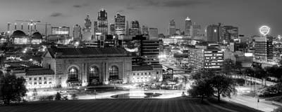 Kansas City Skyline Bw Poster