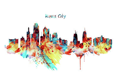 Kansas City Skyline Silhouette Poster by Marian Voicu