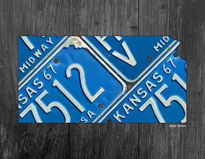 Kansas License Plate Map State Art Midway Usa Poster by Design Turnpike