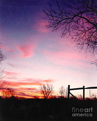 Kansas Sunrise With Fence Poster