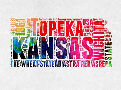 Kansas Watercolor Word Map Poster by Naxart Studio