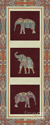 Kashmir Elephants - Vintage Style Patterned Tribal Boho Chic Art Poster