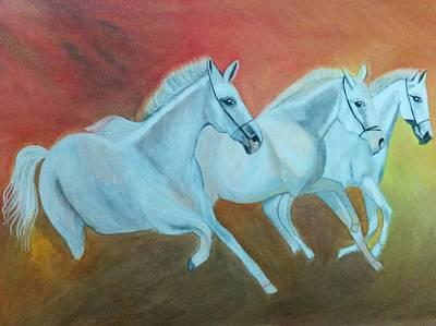 Kathiawadi Horses Poster by Shweta Singh
