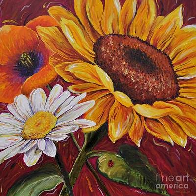 Poster featuring the painting Kathrin's Flowers by Lisa Fiedler Jaworski