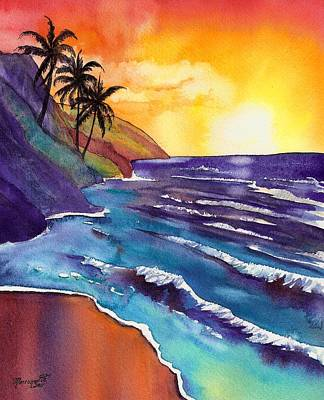 Kauai Na Pali Sunset Poster by Marionette Taboniar