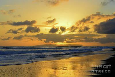 Kauai Sunset With Niihau On The Horizon Poster