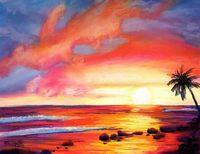 Kauai West Side Sunset Poster by Marionette Taboniar