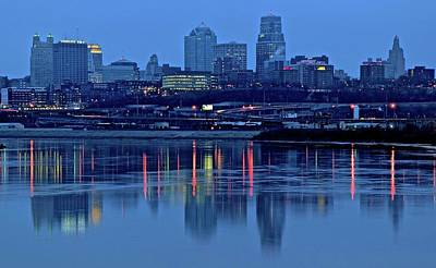 Kaw Point Blue Hour Reflection Poster by Frozen in Time Fine Art Photography