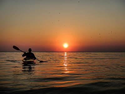 Kayak At Sunset Poster