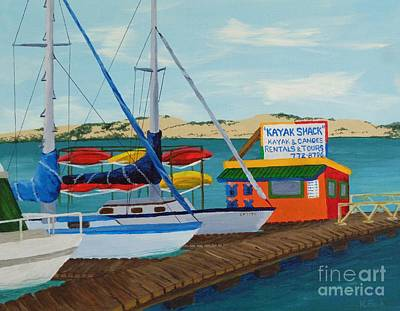 Poster featuring the painting Kayak Shack Morro Bay California by Katherine Young-Beck