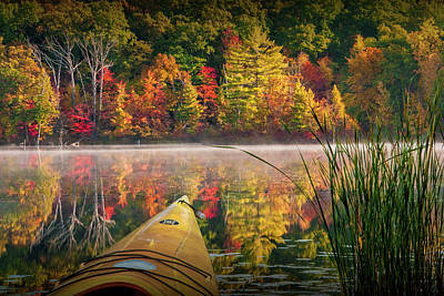 Kayaking On A Small Lake In Autumn Poster by Randall Nyhof