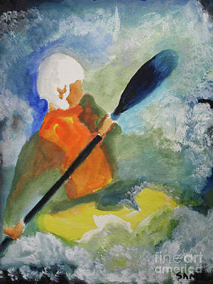 Poster featuring the painting Kayaking by Sandy McIntire